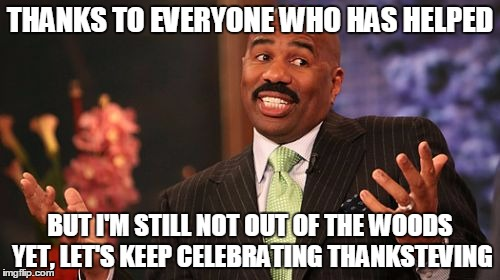 ThankSteving Is Still On, He's Not Safe Yet! Details In Comments |  THANKS TO EVERYONE WHO HAS HELPED; BUT I'M STILL NOT OUT OF THE WOODS YET, LET'S KEEP CELEBRATING THANKSTEVING | image tagged in memes,steve harvey,save steve harvey,harvey memes matter,we've made progress | made w/ Imgflip meme maker