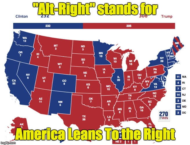 """Alt-Right"" stands for America Leans To the Right 