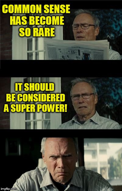 The things I read make me want to full time face palm! | COMMON SENSE HAS BECOME SO RARE IT SHOULD BE CONSIDERED A SUPER POWER! | image tagged in bad eastwood pun,common sense,super powers,rare,memes,clint eastwood | made w/ Imgflip meme maker