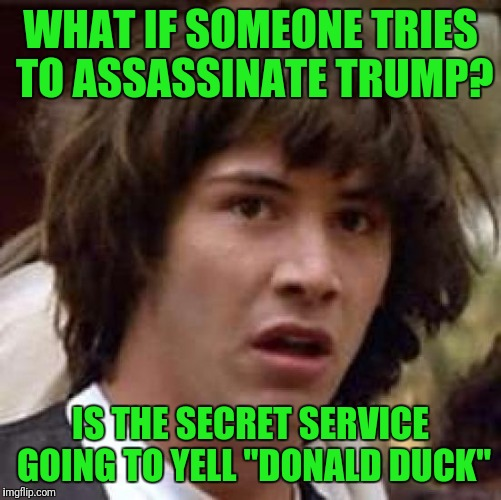 "Conspiracy Keanu Meme | WHAT IF SOMEONE TRIES TO ASSASSINATE TRUMP? IS THE SECRET SERVICE GOING TO YELL ""DONALD DUCK"" 