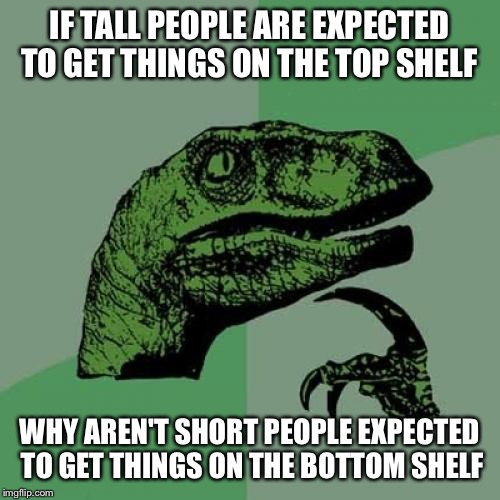 Philosoraptor Meme | IF TALL PEOPLE ARE EXPECTED TO GET THINGS ON THE TOP SHELF WHY AREN'T SHORT PEOPLE EXPECTED TO GET THINGS ON THE BOTTOM SHELF | image tagged in memes,philosoraptor | made w/ Imgflip meme maker