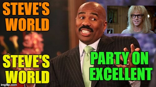 Steve Harvey Meme | STEVE'S WORLD STEVE'S WORLD PARTY ON EXCELLENT | image tagged in memes,steve harvey | made w/ Imgflip meme maker