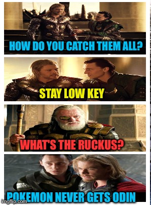 HOW DO YOU CATCH THEM ALL? STAY LOW KEY WHAT'S THE RUCKUS? POKEMON NEVER GETS ODIN | made w/ Imgflip meme maker