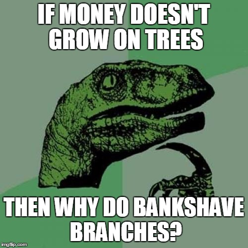 Philosoraptor Meme | IF MONEY DOESN'T GROW ON TREES THEN WHY DO BANKSHAVE BRANCHES? | image tagged in memes,philosoraptor | made w/ Imgflip meme maker