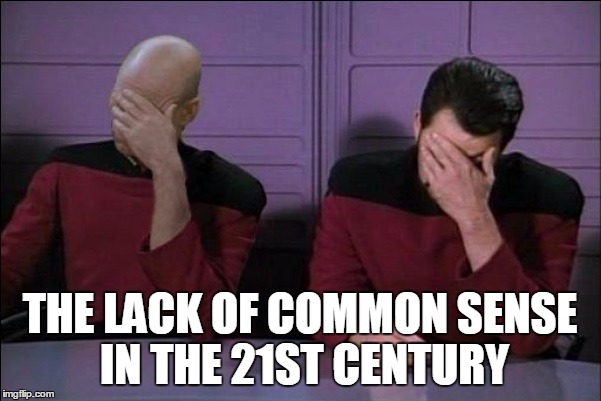 Picard And Riker Double Facepalm | THE LACK OF COMMON SENSE IN THE 21ST CENTURY | image tagged in picard and riker double facepalm | made w/ Imgflip meme maker