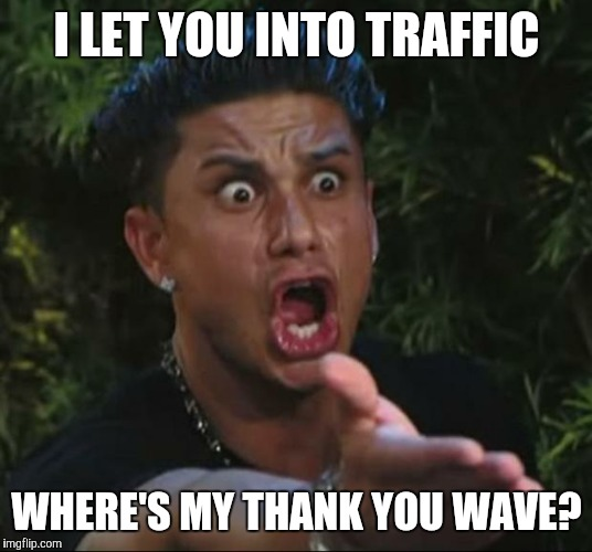 DJ Pauly D Meme | I LET YOU INTO TRAFFIC WHERE'S MY THANK YOU WAVE? | image tagged in memes,dj pauly d | made w/ Imgflip meme maker