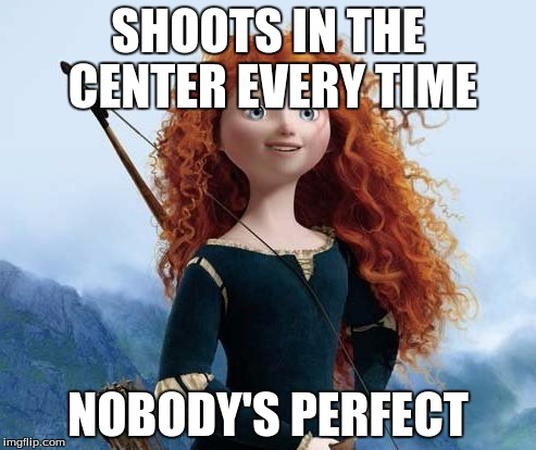 Merida Brave |  SHOOTS IN THE CENTER EVERY TIME; NOBODY'S PERFECT | image tagged in memes,merida brave | made w/ Imgflip meme maker
