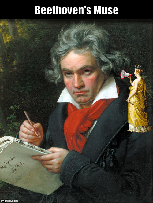 Beethoven's Muse | image tagged in beethoven,ludwig van beethoven,muse,megaphone,funny,memes | made w/ Imgflip meme maker