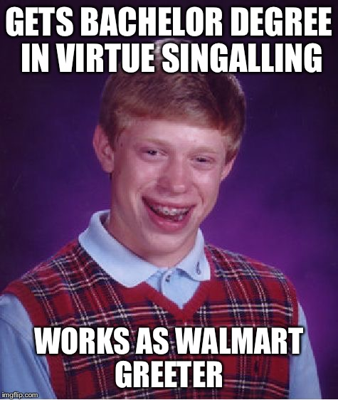 Bad Luck Brian Meme | GETS BACHELOR DEGREE IN VIRTUE SINGALLING WORKS AS WALMART GREETER | image tagged in memes,bad luck brian | made w/ Imgflip meme maker
