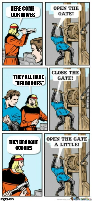 "Open the gate a little | HERE COME OUR WIVES THEY ALL HAVE ""HEADACHES"" THEY BROUGHT COOKIES 