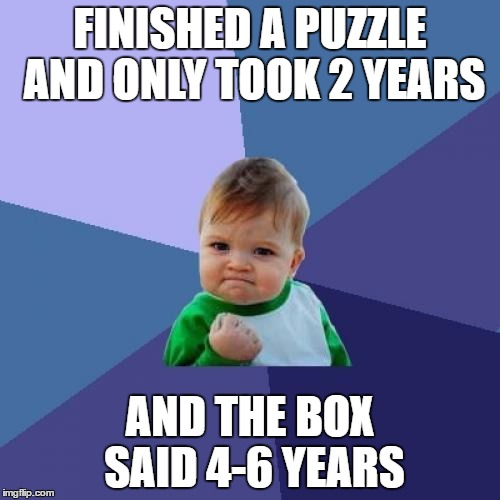 Success Kid Meme | FINISHED A PUZZLE AND ONLY TOOK 2 YEARS AND THE BOX SAID 4-6 YEARS | image tagged in memes,success kid | made w/ Imgflip meme maker