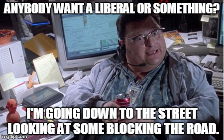 ANYBODY WANT A LIBERAL OR SOMETHING? I'M GOING DOWN TO THE STREET LOOKING AT SOME BLOCKING THE ROAD. | made w/ Imgflip meme maker