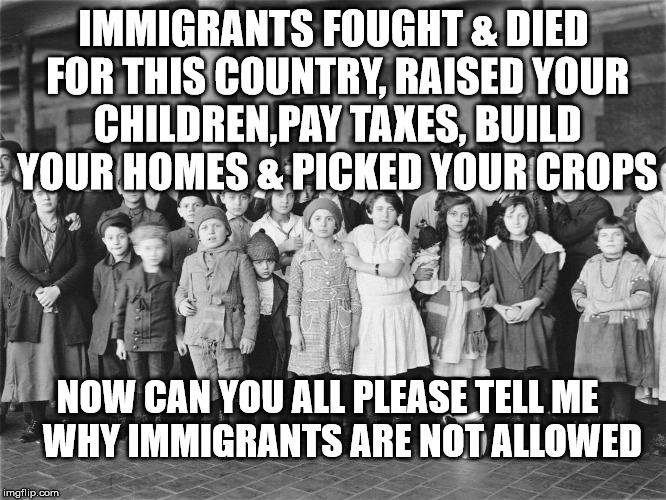 Immigrants  |  IMMIGRANTS FOUGHT & DIED FOR THIS COUNTRY, RAISED YOUR CHILDREN,PAY TAXES, BUILD YOUR HOMES & PICKED YOUR CROPS; NOW CAN YOU ALL PLEASE TELL ME    WHY IMMIGRANTS ARE NOT ALLOWED | image tagged in immigrants | made w/ Imgflip meme maker
