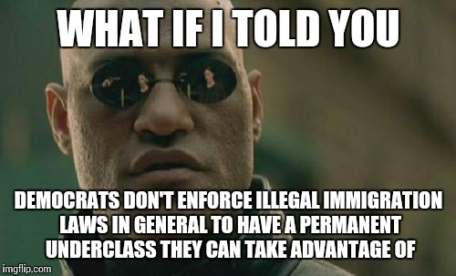 Matrix Morpheus Meme | WHAT IF I TOLD YOU DEMOCRATS DON'T ENFORCE ILLEGAL IMMIGRATION LAWS IN GENERAL TO HAVE A PERMANENT UNDERCLASS THEY CAN TAKE ADVANTAGE OF | image tagged in memes,matrix morpheus | made w/ Imgflip meme maker