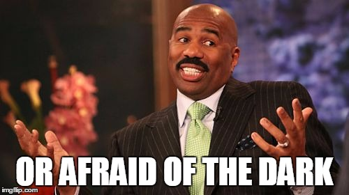 Steve Harvey Meme | OR AFRAID OF THE DARK | image tagged in memes,steve harvey | made w/ Imgflip meme maker