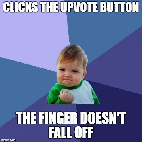 Success Kid Meme | CLICKS THE UPVOTE BUTTON THE FINGER DOESN'T FALL OFF | image tagged in memes,success kid | made w/ Imgflip meme maker