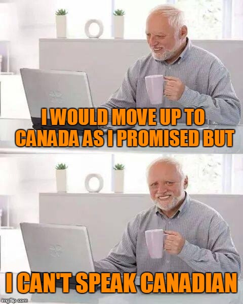 I WOULD MOVE UP TO CANADA AS I PROMISED BUT I CAN'T SPEAK CANADIAN | made w/ Imgflip meme maker