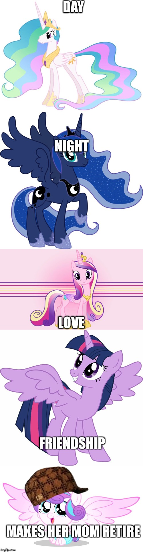 My little pony princess roll call  | DAY NIGHT LOVE FRIENDSHIP MAKES HER MOM RETIRE | image tagged in scumbag,princess celestia,princess luna,twilight sparkle,princess cadance,my little pony friendship is magic | made w/ Imgflip meme maker