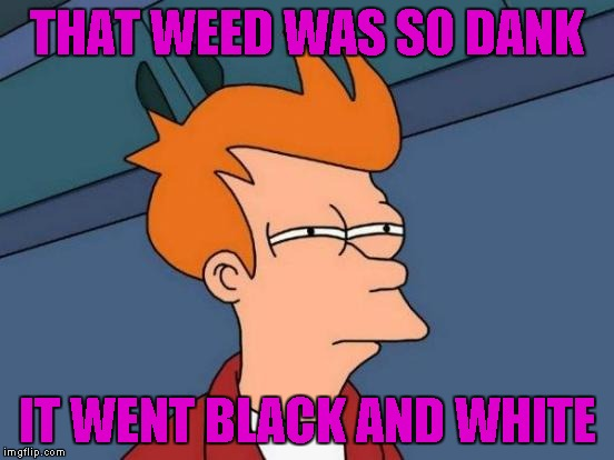 Futurama Fry Meme | THAT WEED WAS SO DANK IT WENT BLACK AND WHITE | image tagged in memes,futurama fry | made w/ Imgflip meme maker