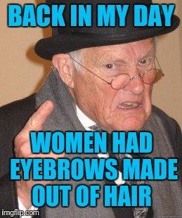 Back In My Day Meme | BACK IN MY DAY WOMEN HAD EYEBROWS MADE OUT OF HAIR | image tagged in memes,back in my day | made w/ Imgflip meme maker