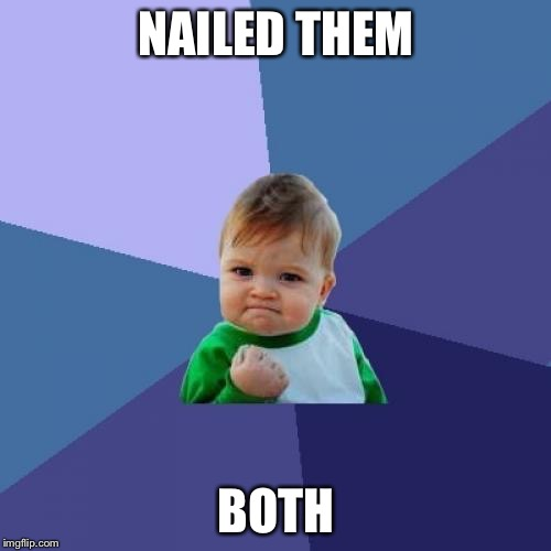 Success Kid Meme | NAILED THEM BOTH | image tagged in memes,success kid | made w/ Imgflip meme maker