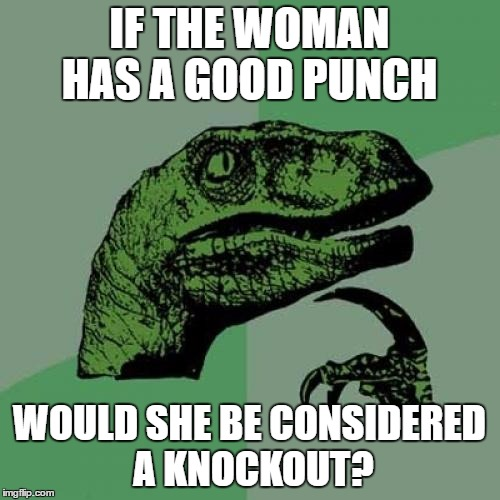 Philosoraptor Meme | IF THE WOMAN HAS A GOOD PUNCH WOULD SHE BE CONSIDERED A KNOCKOUT? | image tagged in memes,philosoraptor | made w/ Imgflip meme maker