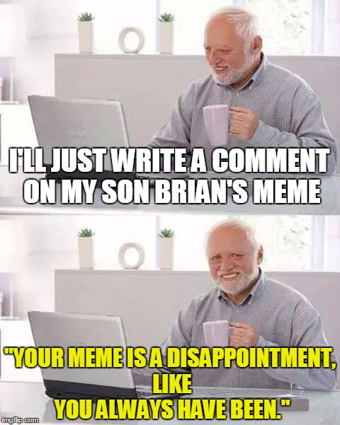 "I'LL JUST WRITE A COMMENT ON MY SON BRIAN'S MEME ""YOUR MEME IS A DISAPPOINTMENT, LIKE YOU ALWAYS HAVE BEEN."" 
