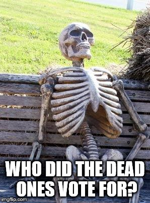 Waiting Skeleton Meme | WHO DID THE DEAD ONES VOTE FOR? | image tagged in memes,waiting skeleton | made w/ Imgflip meme maker