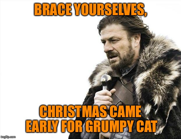 Brace Yourselves X is Coming Meme | BRACE YOURSELVES, CHRISTMAS CAME EARLY FOR GRUMPY CAT | image tagged in memes,brace yourselves x is coming | made w/ Imgflip meme maker