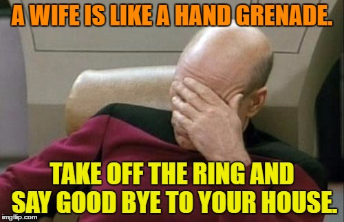 Captain Picard Facepalm Meme | A WIFE IS LIKE A HAND GRENADE. TAKE OFF THE RING AND SAY GOOD BYE TO YOUR HOUSE. | image tagged in memes,captain picard facepalm | made w/ Imgflip meme maker