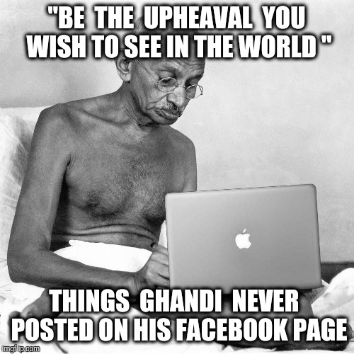 "A Rioting Liberal is the biggest oxymoron Ever | ""BE  THE  UPHEAVAL  YOU WISH TO SEE IN THE WORLD "" THINGS  GHANDI  NEVER  POSTED ON HIS FACEBOOK PAGE 