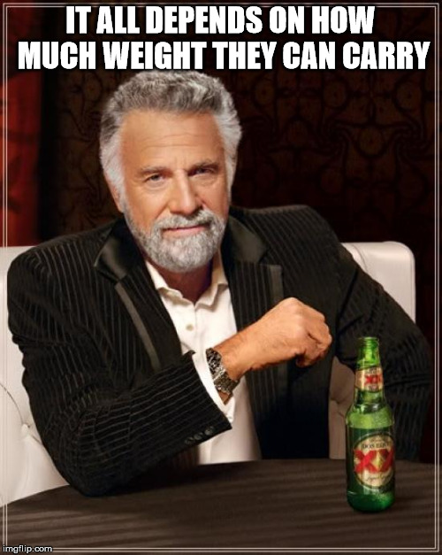 The Most Interesting Man In The World Meme | IT ALL DEPENDS ON HOW MUCH WEIGHT THEY CAN CARRY | image tagged in memes,the most interesting man in the world | made w/ Imgflip meme maker