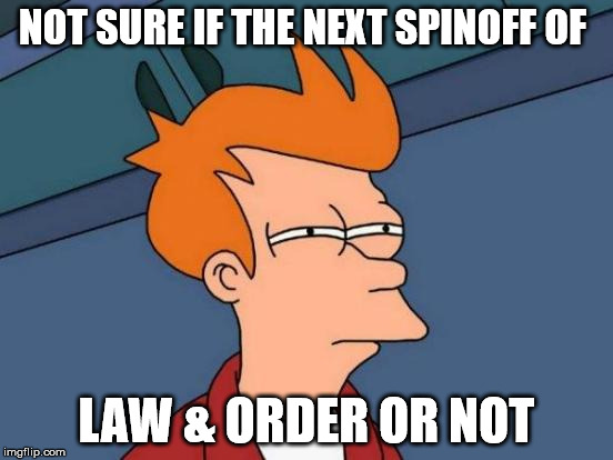 Futurama Fry Meme | NOT SURE IF THE NEXT SPINOFF OF LAW & ORDER OR NOT | image tagged in memes,futurama fry | made w/ Imgflip meme maker