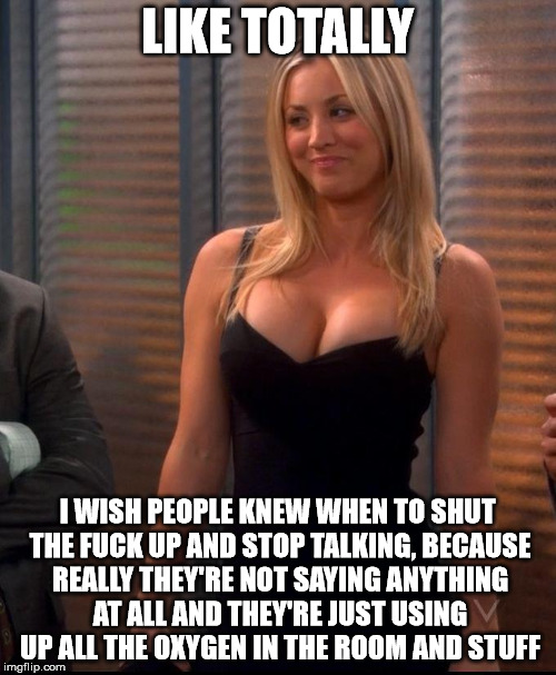Penny - LBD | LIKE TOTALLY I WISH PEOPLE KNEW WHEN TO SHUT THE F**K UP AND STOP TALKING, BECAUSE REALLY THEY'RE NOT SAYING ANYTHING AT ALL AND THEY'RE JUS | image tagged in penny - lbd | made w/ Imgflip meme maker