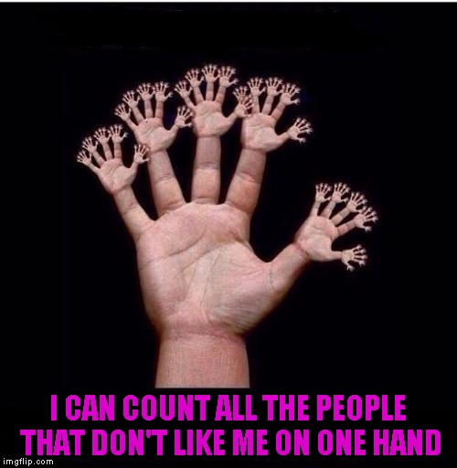 I CAN COUNT ALL THE PEOPLE THAT DON'T LIKE ME ON ONE HAND | made w/ Imgflip meme maker