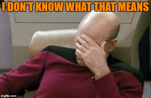 Captain Picard Facepalm Meme | I DON'T KNOW WHAT THAT MEANS | image tagged in memes,captain picard facepalm | made w/ Imgflip meme maker