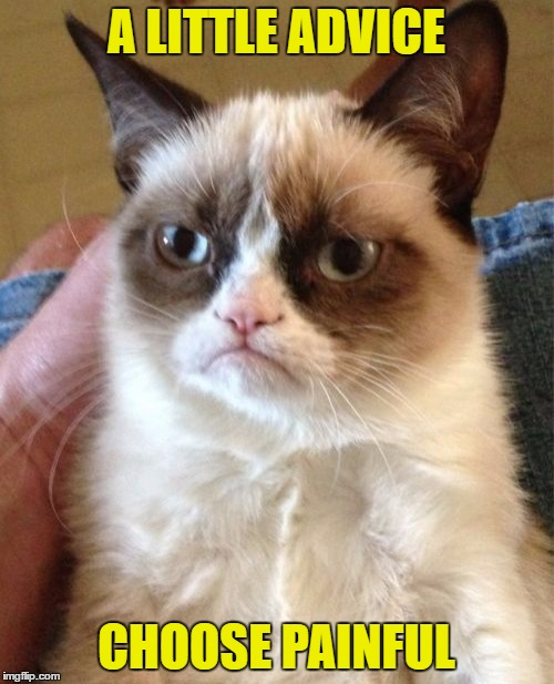 Grumpy Cat Meme | A LITTLE ADVICE CHOOSE PAINFUL | image tagged in memes,grumpy cat | made w/ Imgflip meme maker