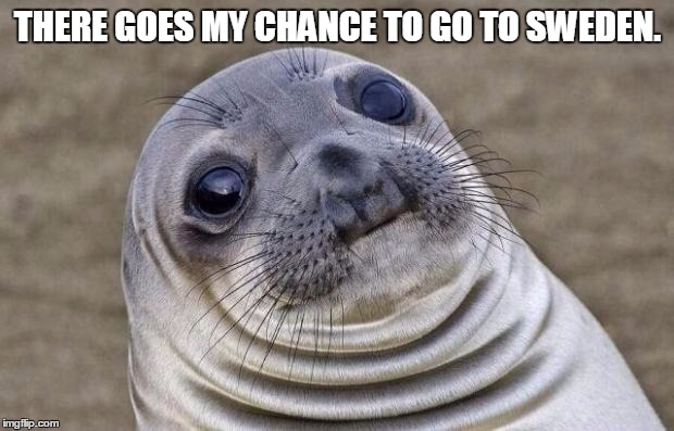 Awkward Moment Sealion Meme | THERE GOES MY CHANCE TO GO TO SWEDEN. | image tagged in memes,awkward moment sealion | made w/ Imgflip meme maker