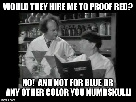 WOULD THEY HIRE ME TO PROOF RED? NO!  AND NOT FOR BLUE OR ANY OTHER COLOR YOU NUMBSKULL! | made w/ Imgflip meme maker