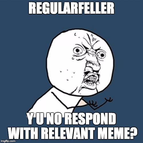 Y U No Meme | REGULARFELLER Y U NO RESPOND WITH RELEVANT MEME? | image tagged in memes,y u no | made w/ Imgflip meme maker