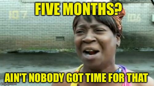 Aint Nobody Got Time For That Meme | AIN'T NOBODY GOT TIME FOR THAT FIVE MONTHS? | image tagged in memes,aint nobody got time for that | made w/ Imgflip meme maker