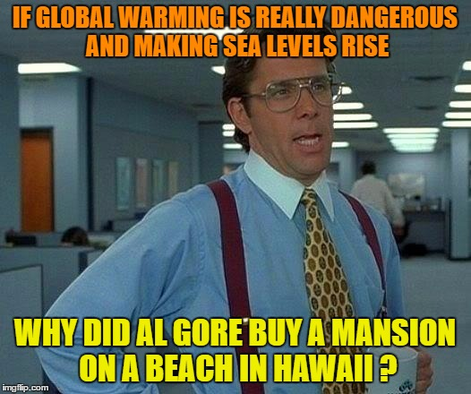 That Would Be Great Meme | IF GLOBAL WARMING IS REALLY DANGEROUS AND MAKING SEA LEVELS RISE WHY DID AL GORE BUY A MANSION ON A BEACH IN HAWAII ? | image tagged in memes,that would be great | made w/ Imgflip meme maker