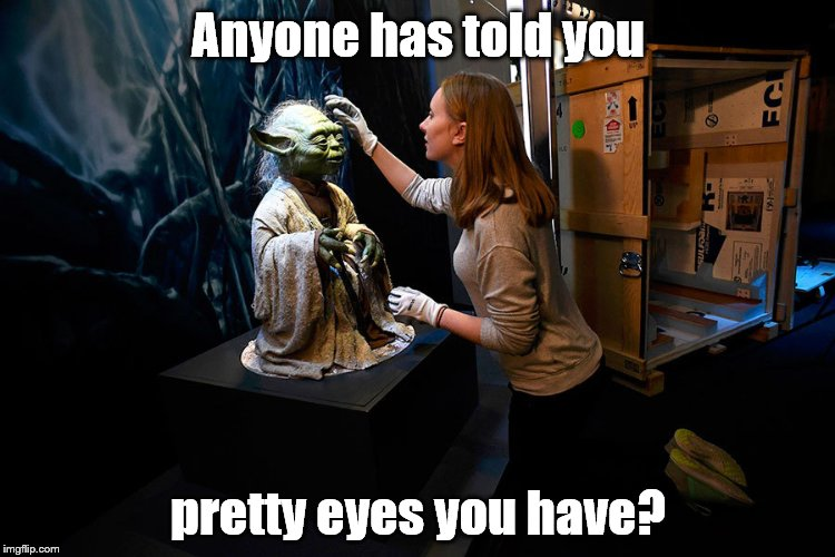 Fresh out of his packing crate and Yoda can't resist the urge to be fresh with the cute curator Monica. Some Jedi you are, hmm? | Anyone has told you pretty eyes you have? | image tagged in yoda hitting on museum babe,pretty eyes you have,jedi mind trick | made w/ Imgflip meme maker
