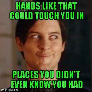 HANDS LIKE THAT COULD TOUCH YOU IN PLACES YOU DIDN'T EVEN KNOW YOU HAD | made w/ Imgflip meme maker