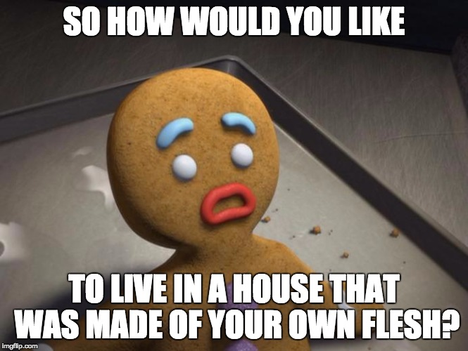 Gingerbread man | SO HOW WOULD YOU LIKE TO LIVE IN A HOUSE THAT WAS MADE OF YOUR OWN FLESH? | image tagged in gingerbread man | made w/ Imgflip meme maker