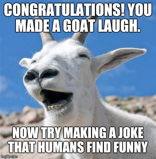 Laughing Goat |  CONGRATULATIONS! YOU MADE A GOAT LAUGH. NOW TRY MAKING A JOKE THAT HUMANS FIND FUNNY | image tagged in memes,laughing goat | made w/ Imgflip meme maker