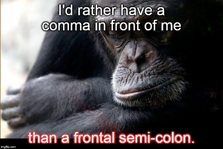 Koko | I'd rather have a comma in front of me than a frontal semi-colon. | image tagged in koko | made w/ Imgflip meme maker