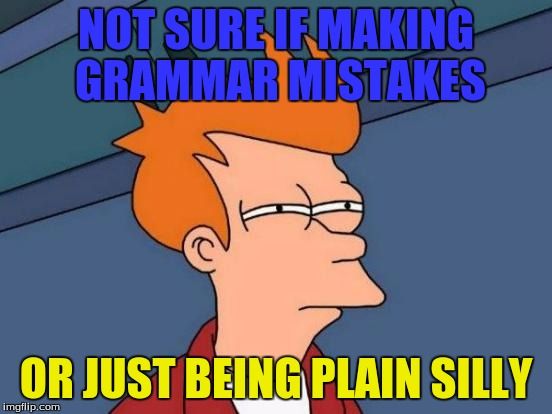 Futurama Fry Meme | NOT SURE IF MAKING GRAMMAR MISTAKES OR JUST BEING PLAIN SILLY | image tagged in memes,futurama fry | made w/ Imgflip meme maker
