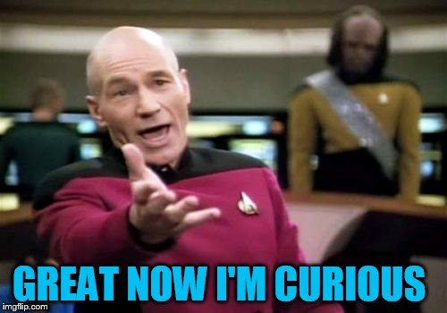 Picard Wtf Meme | GREAT NOW I'M CURIOUS | image tagged in memes,picard wtf | made w/ Imgflip meme maker