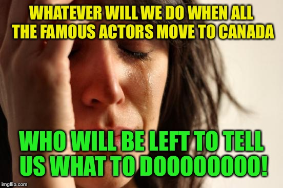 Still waiting to see one of them leave.... | WHATEVER WILL WE DO WHEN ALL THE FAMOUS ACTORS MOVE TO CANADA WHO WILL BE LEFT TO TELL US WHAT TO DOOOOOOOO! | image tagged in memes,first world problems | made w/ Imgflip meme maker